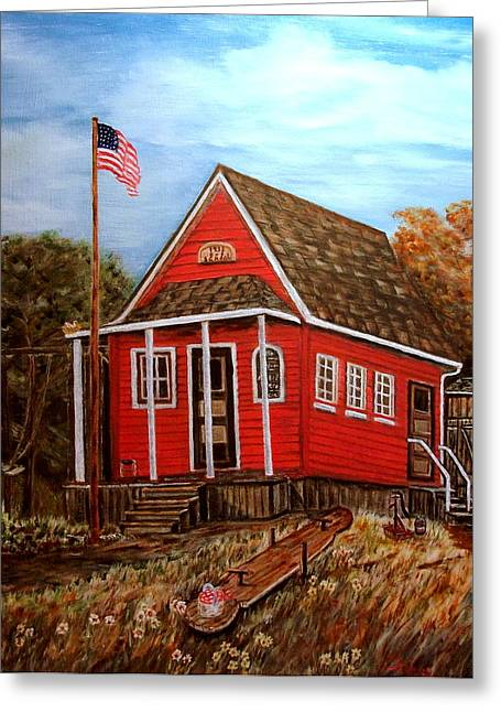 Red School House Greeting Cards - School House Greeting Card by Kenneth  LePoidevin