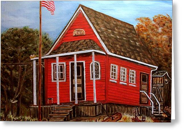 School House Greeting Card by Kenneth  LePoidevin