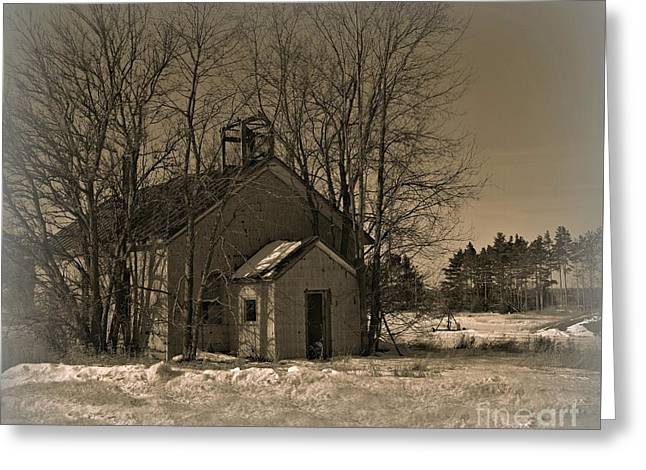 Abandoned School House. Greeting Cards - School House Greeting Card by Russie Marshall