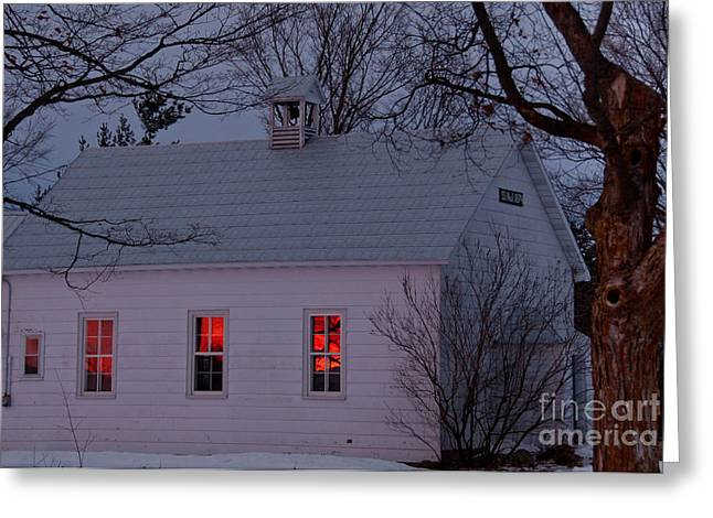 School House Sunset Greeting Card by Cheryl Baxter