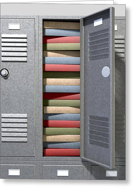 Combinations Greeting Cards - School Locker Crammed Books Greeting Card by Allan Swart