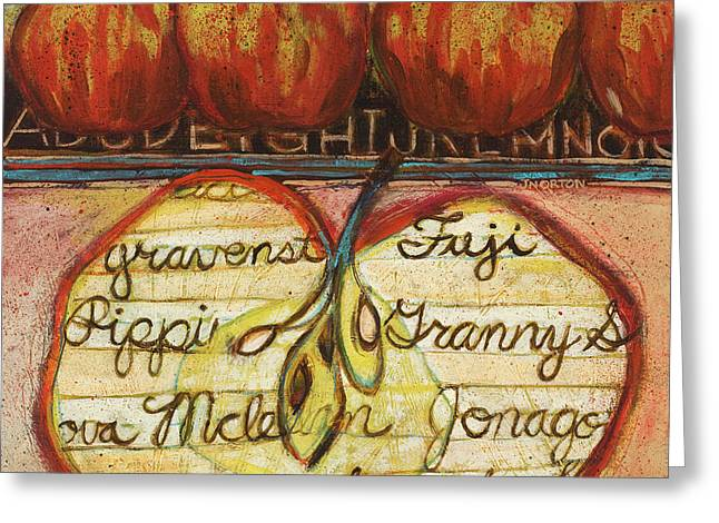 Food Art Paintings Greeting Cards - School of Apples Greeting Card by Jen Norton