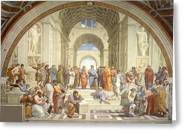 Greek School Of Paintings Greeting Cards - School of Athens Greeting Card by Raphael