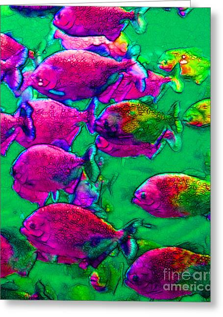 School Of Piranha V2 Greeting Card by Wingsdomain Art and Photography