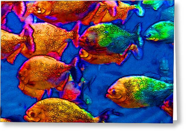 School Of Piranha V3 - Square Greeting Card by Wingsdomain Art and Photography