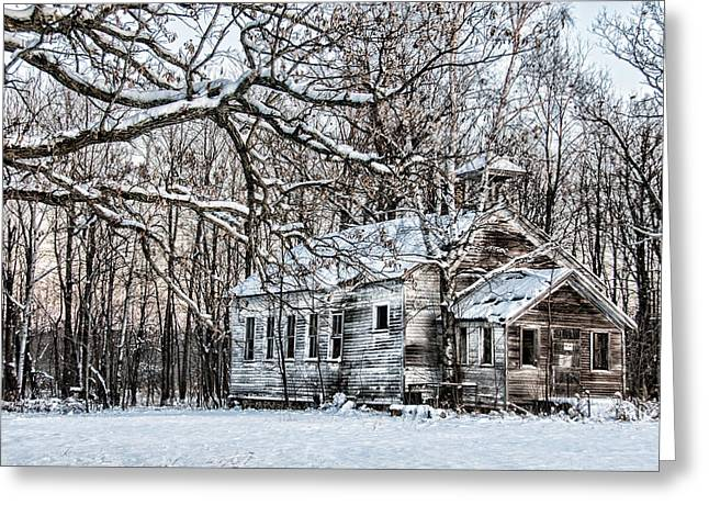 Winter Scenes Rural Scenes Photographs Greeting Cards - School Out Forever Greeting Card by Paul Freidlund
