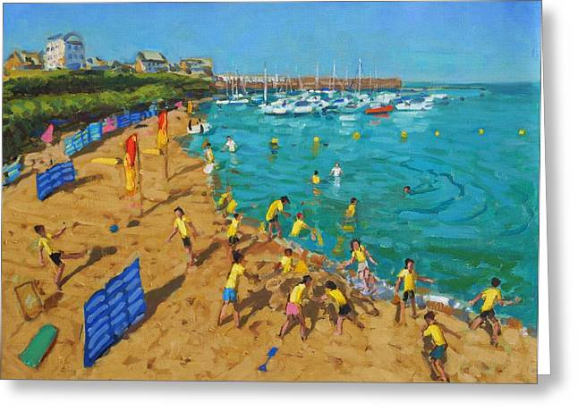 Sandcastle Greeting Cards - School outing New Quay Wales Greeting Card by Andrew Macara