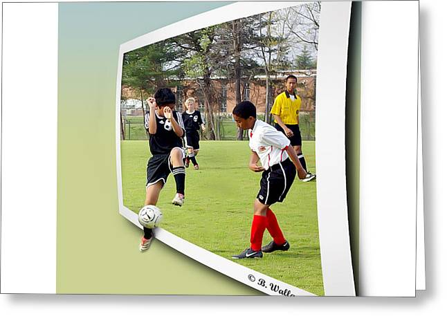 Shin Guard Greeting Cards - School Soccer Greeting Card by Brian Wallace