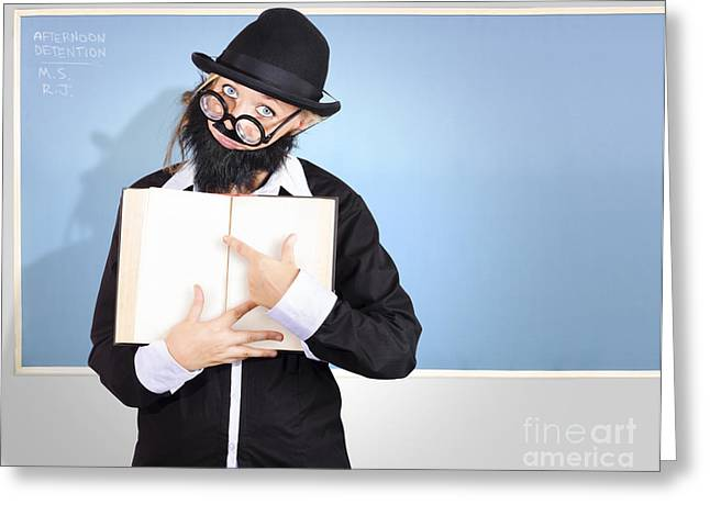Strict Greeting Cards - School teacher in classroom pointing to empty book Greeting Card by Ryan Jorgensen