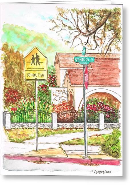 Architecrure Greeting Cards - School Xing sign in Santa Paula - California Greeting Card by Carlos G Groppa