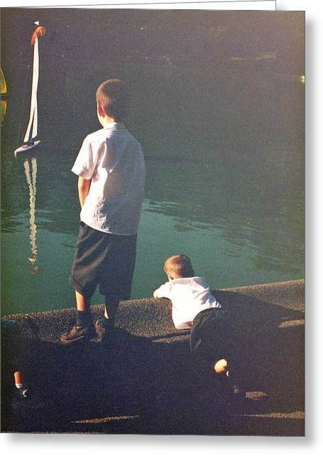 Toy Boat Paintings Greeting Cards - Schoolboys at the boating lake in Central Park  Greeting Card by Deborah Meyler
