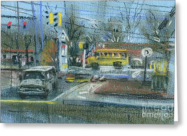 Traffic Pastels Greeting Cards - Schoolbus Greeting Card by Donald Maier