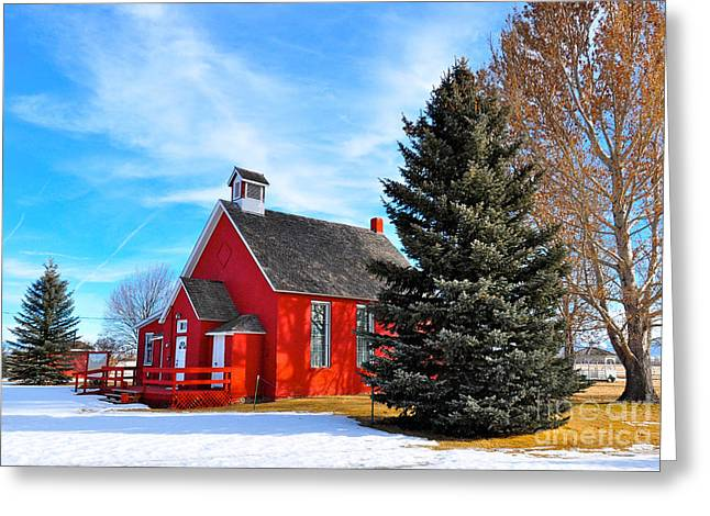 Red School House Greeting Cards - Schoolhouse Greeting Card by Birches Photography