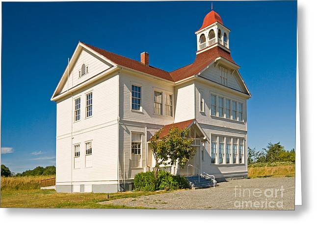 Red School House Photographs Greeting Cards - Schoolhouse Greeting Card by Richard and Ellen Thane