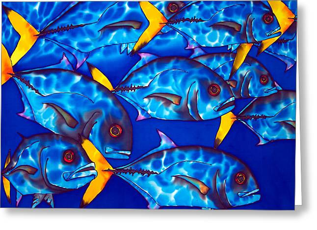 Caribbean Sea Tapestries - Textiles Greeting Cards - Schooling  jack fish Greeting Card by Daniel Jean-Baptiste