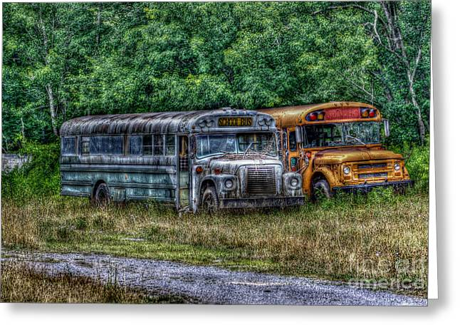 Rural School Bus Greeting Cards - Schools Out Greeting Card by Dan Stone