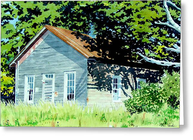 Abandoned School House. Paintings Greeting Cards - Schools Out Greeting Card by Jim Gerkin