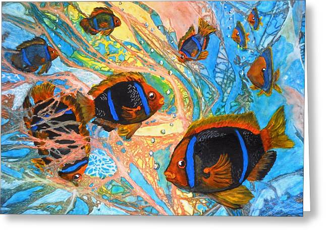 Representative Abstract Mixed Media Greeting Cards - Schools Out Greeting Card by Liz Borkhuis