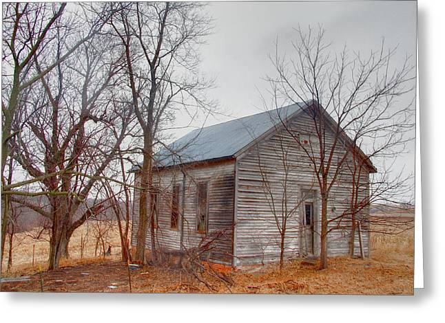 Abandoned School House. Greeting Cards - Schools Out Greeting Card by Mark Pearson