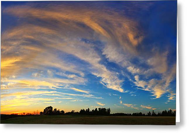 Featured Art Greeting Cards - Schoolyard Sunset 1 Panorama Greeting Card by Bill Caldwell -        ABeautifulSky Photography