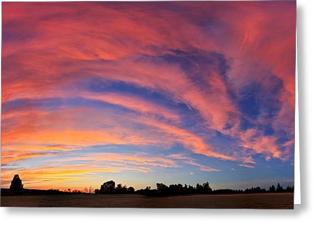 Maine Landscape Greeting Cards - Schoolyard Sunset 2 Panorama Greeting Card by Bill Caldwell -        ABeautifulSky Photography