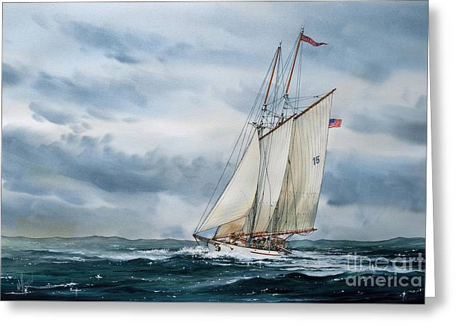 Tall Ship Canvas Greeting Cards - Schooner Adventuress Greeting Card by James Williamson
