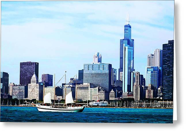 Lakes Greeting Cards - Chicago IL - Schooner Against Chicago Skyline Greeting Card by Susan Savad
