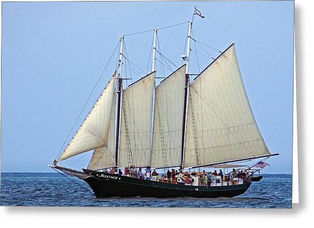 Recently Sold -  - Schooner Greeting Cards - Schooner Alliance Greeting Card by Jerry Gammon