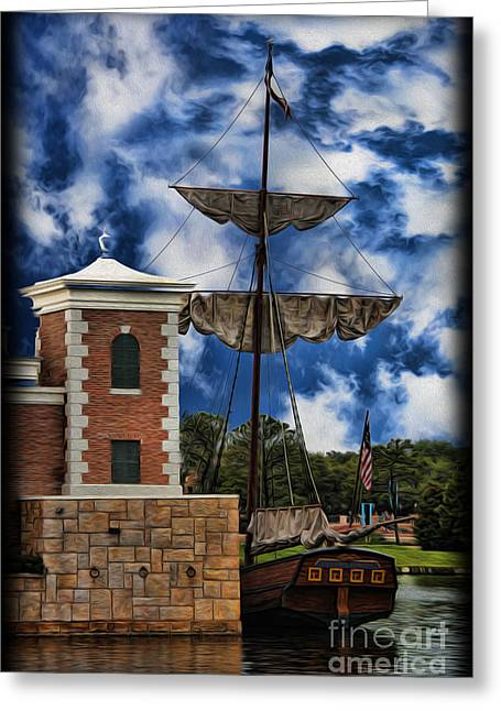 Boats At Dock Greeting Cards - Schooner at Port II Greeting Card by Lee Dos Santos