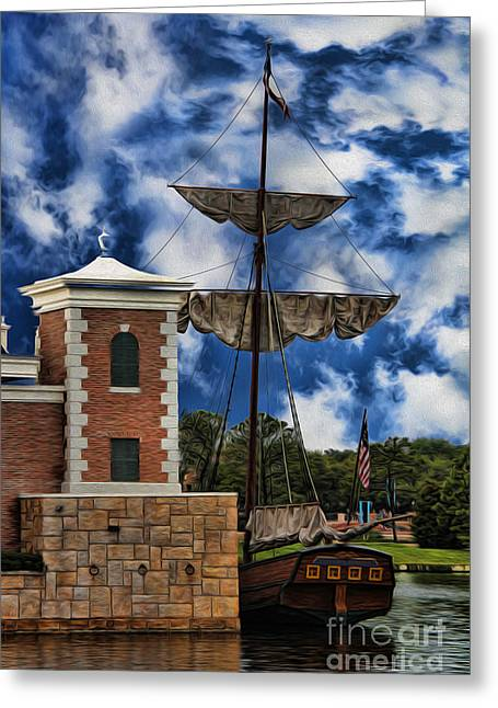 Boats At Dock Greeting Cards - Schooner at Port III Greeting Card by Lee Dos Santos