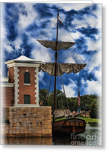 Boats At Dock Greeting Cards - Schooner at Port Greeting Card by Lee Dos Santos