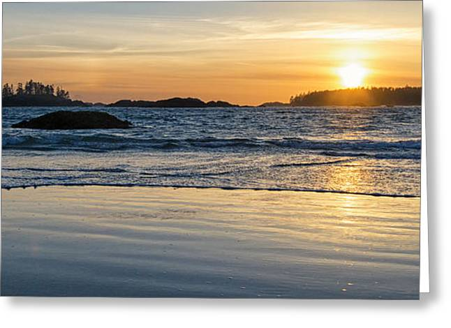 Schooner Greeting Cards - Schooner Bay Sunset Panorama Greeting Card by Allan Van Gasbeck