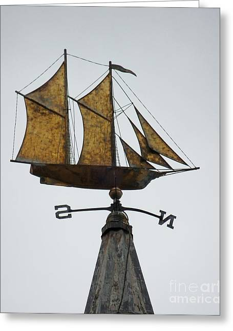 Weathervane Greeting Cards - Schooner Flying High Greeting Card by Marcia Lee Jones