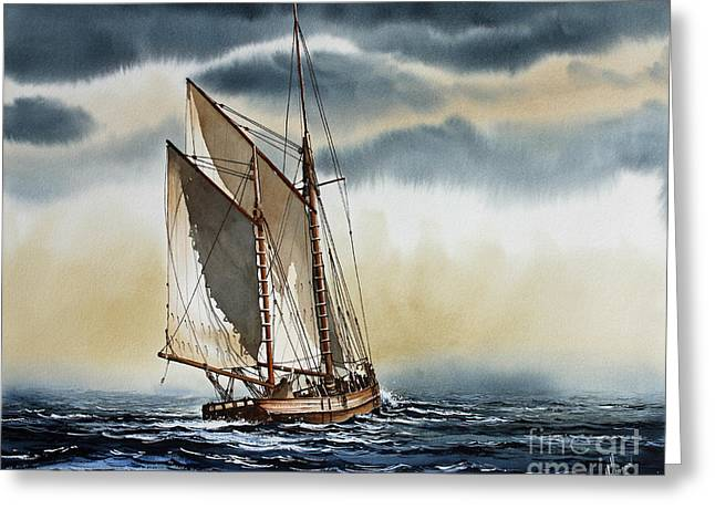 Barges Greeting Cards Greeting Cards - Schooner Greeting Card by James Williamson