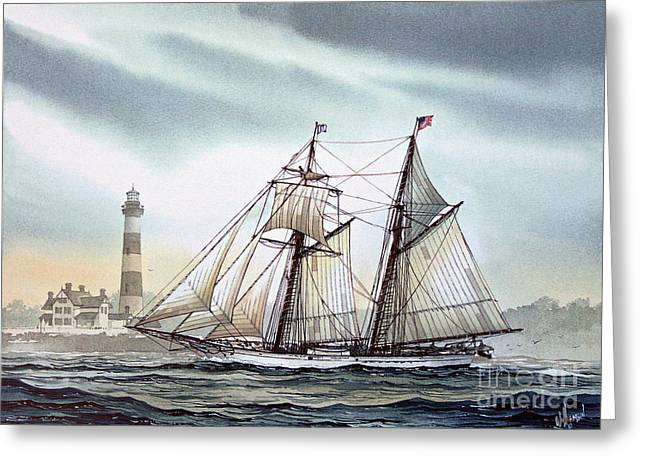 Sailing Ship Framed Prints Greeting Cards - Schooner Light Greeting Card by James Williamson