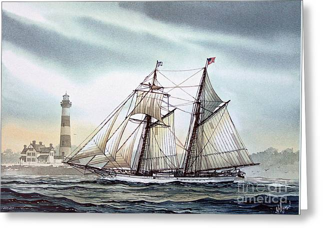 Schooner Light Greeting Card by James Williamson