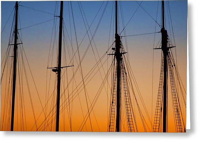 New England Ocean Greeting Cards - Schooner Masts Marthas Vineyard Greeting Card by Carol Leigh