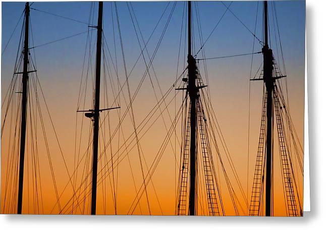 Masts Greeting Cards - Schooner Masts Marthas Vineyard Greeting Card by Carol Leigh