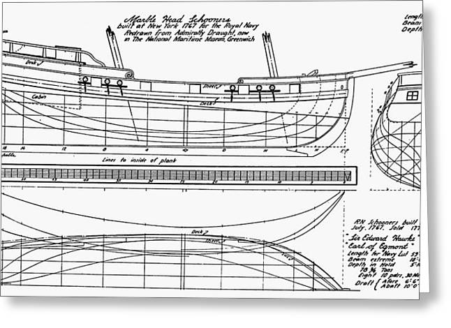 Schooner Greeting Cards - Schooner Plans, 1767 Greeting Card by Granger