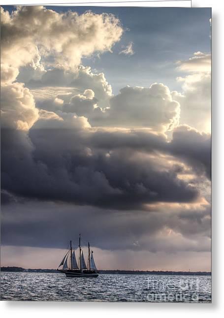 Schooner Greeting Cards - Schooner Pride and Clouds Greeting Card by Dustin K Ryan