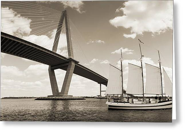 Charters Greeting Cards - Schooner Pride and Cooper River Bridge Greeting Card by Dustin K Ryan