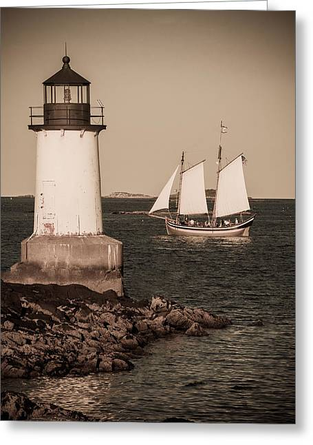 Solitude Greeting Cards - Schooner sailing into harbor Greeting Card by Jeff Folger