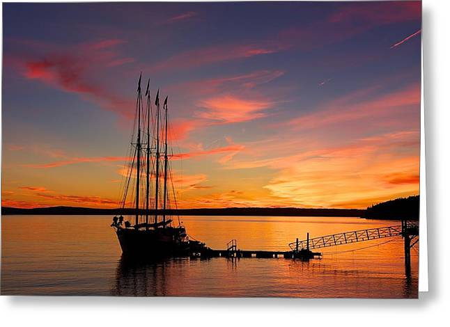 Yellow Sailboats Greeting Cards - Schooner Sunrise Greeting Card by Stuart Litoff