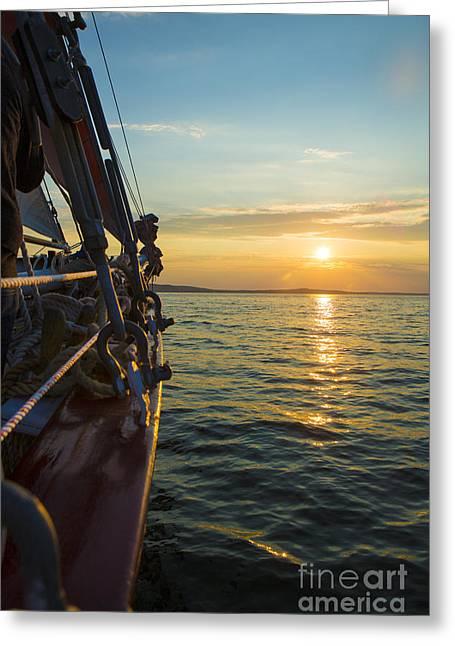 Ocean Sailing Greeting Cards - Schooner Sunset Greeting Card by Diane Diederich