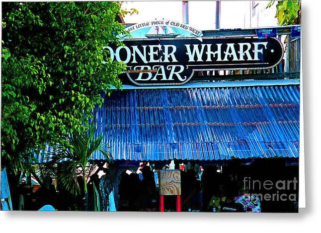 Live Music Greeting Cards - Schooner Wharf Bar in Key West Florida Greeting Card by Susanne Van Hulst