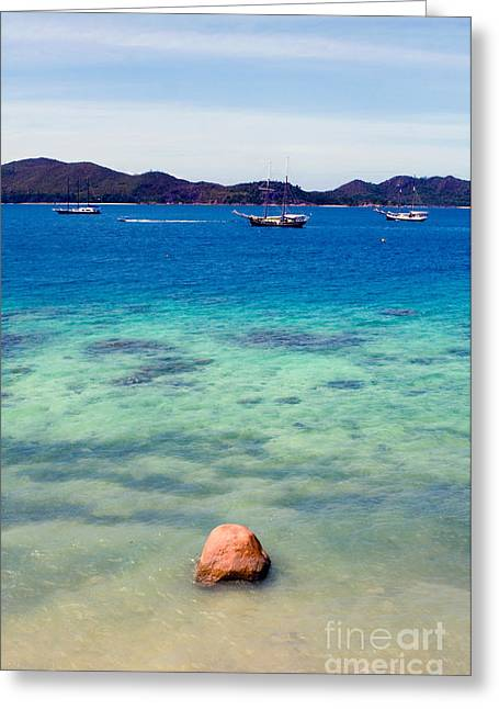 Schooner Greeting Cards - Schooners, The Seychelles Greeting Card by Tim Holt