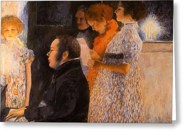 Schubert Greeting Cards - Schubert at the Piano  - after Klimt Greeting Card by Don Perino
