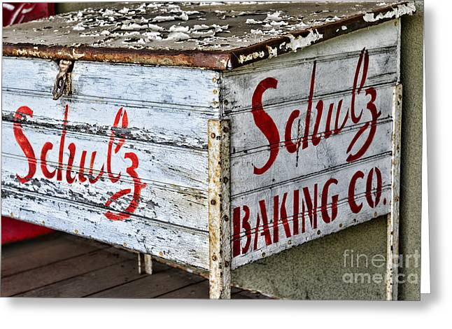 Schulz Greeting Cards - Schulz Baking Co. Antique Box Greeting Card by Paul Ward