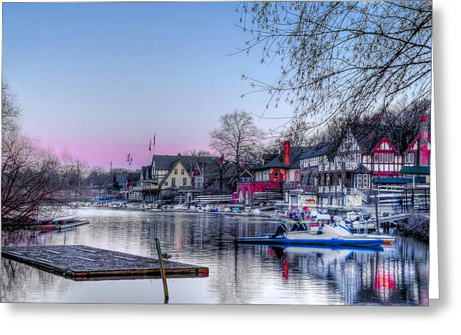 Schuylkill Digital Art Greeting Cards - Schuylkill River and Boathouse Row Philadelphia Greeting Card by Bill Cannon