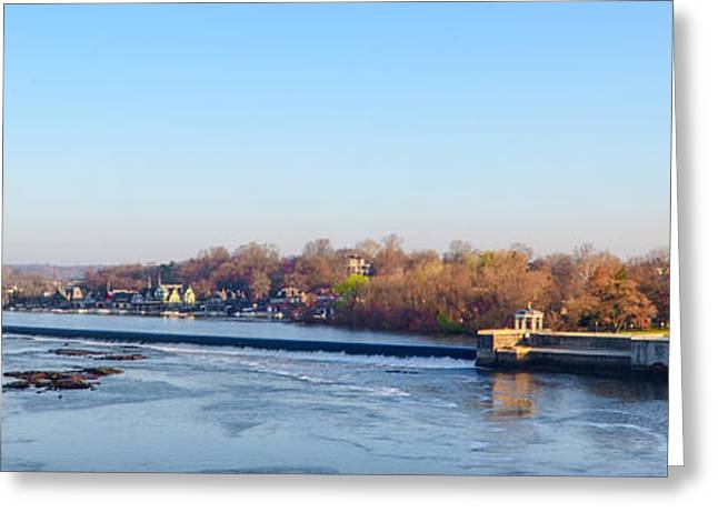 Schuylkill Digital Art Greeting Cards - Schuylkill River at Boathouse Row and  the Fairmount Waterworks Greeting Card by Bill Cannon